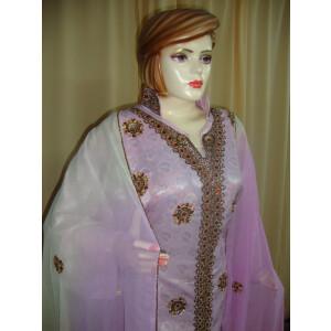 mauve/L green Cotton Sherwani Full Patiala salwar suit F0331