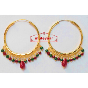 Gold Polished Punjabi Traditional Big Earrings Bali set J0387
