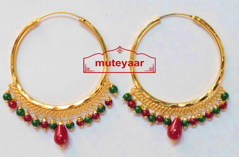 Gold Polished Punjabi Traditional Big Earrings Bali set J0387 1