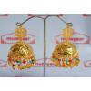 Big Jhumka Earrings Handmade 24 ct. Gold Plated Traditional Punjabi Jhumki J0396