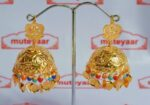 Big Jhumka Earrings Handmade 24 ct. Gold Plated Traditional Punjabi Jhumki J0396