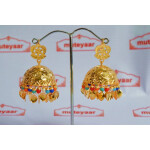 Big Lotan Jhumka Earrings Handmade 24 ct. Gold Plated Traditional Punjabi Jhumki J0396