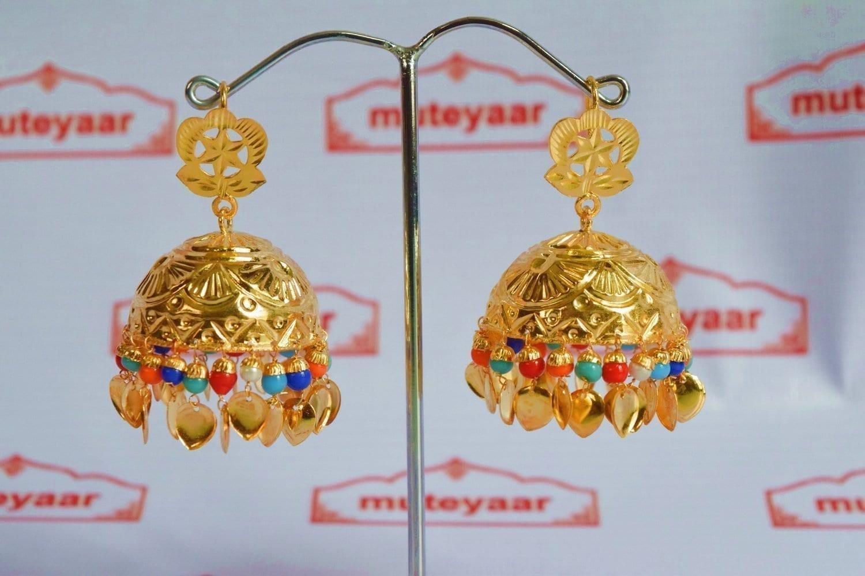 Big Lotan Jhumka Earrings Handmade 24 ct. Gold Plated Traditional Punjabi Jhumki J0396 2