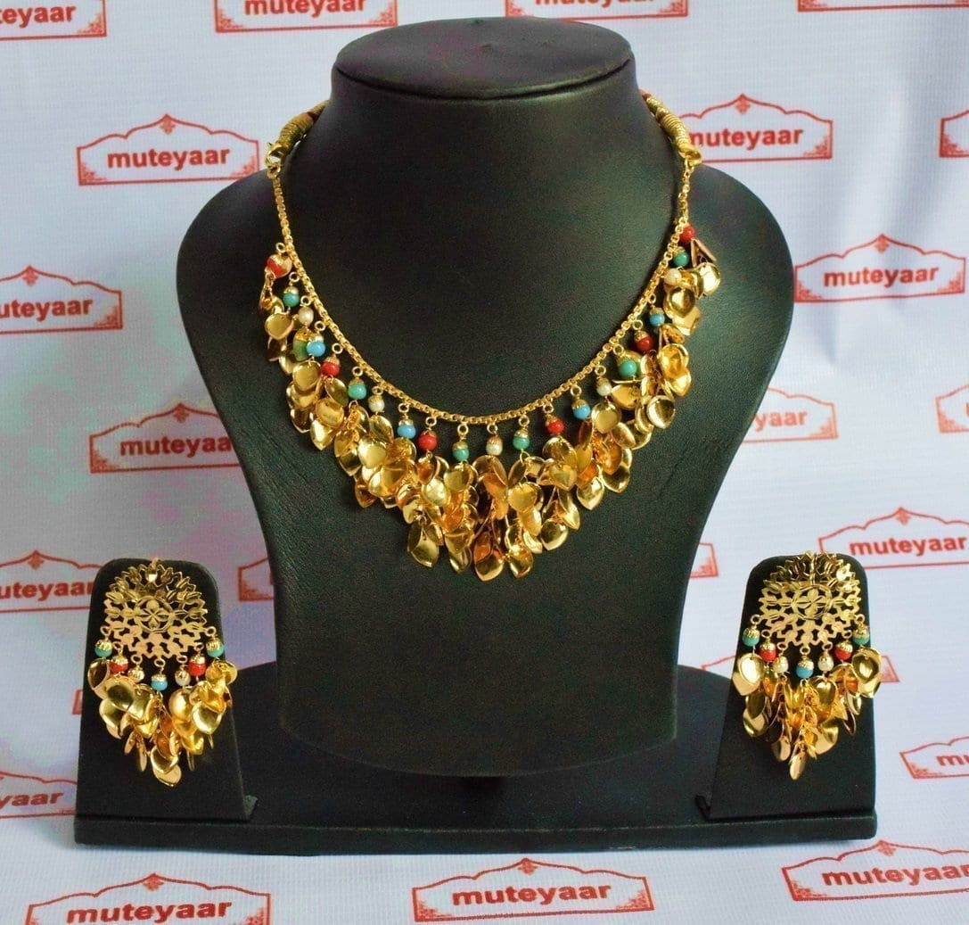 Traditional Punjabi Jewellery 24 Ct. Gold Plated Necklace Earrings set J0397 1