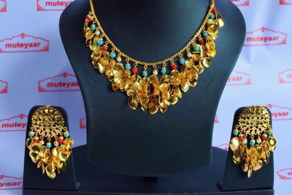 Traditional Punjabi Jewellery 24 Ct. Gold Plated Necklace Earrings set J0397