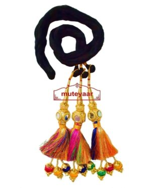 Multi Colour Paranda Parandi Tassles with Mirror Cubes