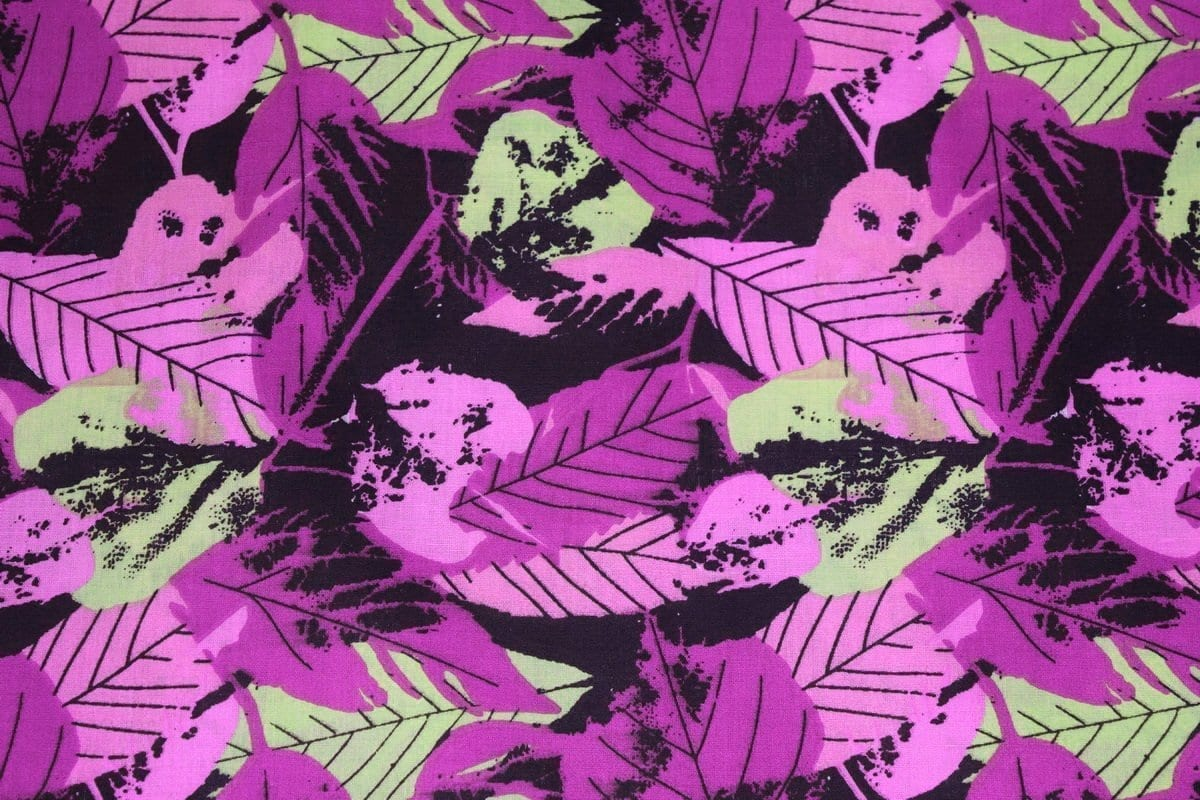 Purple Leaves Design COTTON PRINTED FABRIC PC323 1