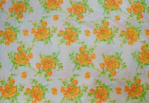 Orange Flowers Printed COTTON FABRIC for Multipurpose use PC343