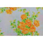 Orange Flowers Printed COTTON FABRIC for Multipurpose use PC343