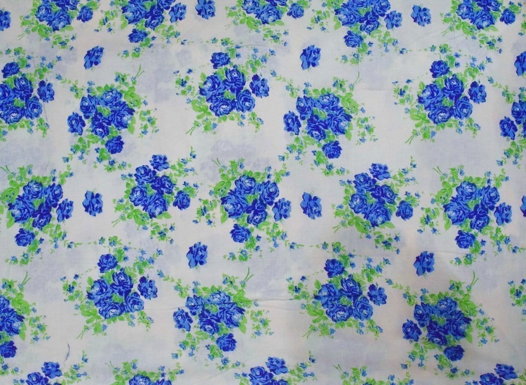 Blue Flowers Printed COTTON FABRIC for Multipurpose use PC344 1