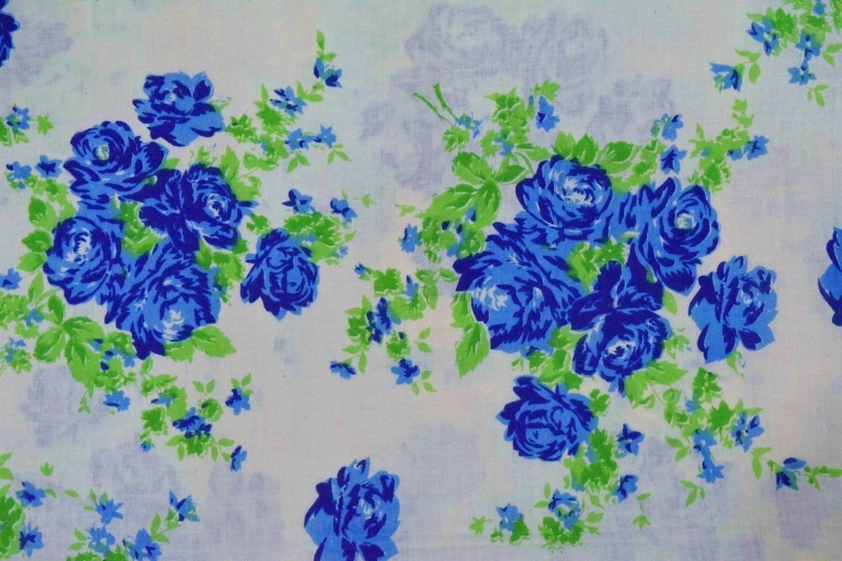 Blue Flowers Printed COTTON FABRIC for Multipurpose use PC344 2