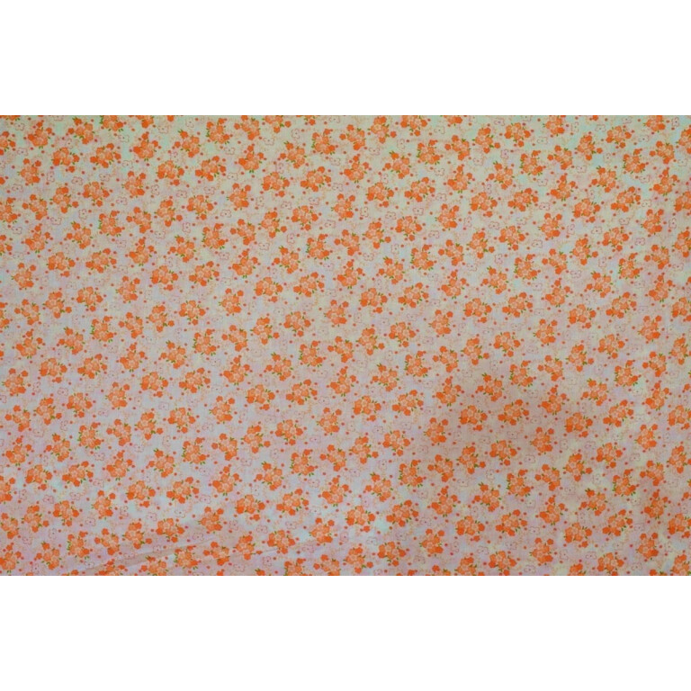 Small Orange Flowers COTTON PRINTED FABRIC for Multipurpose use (per meter price) PC346