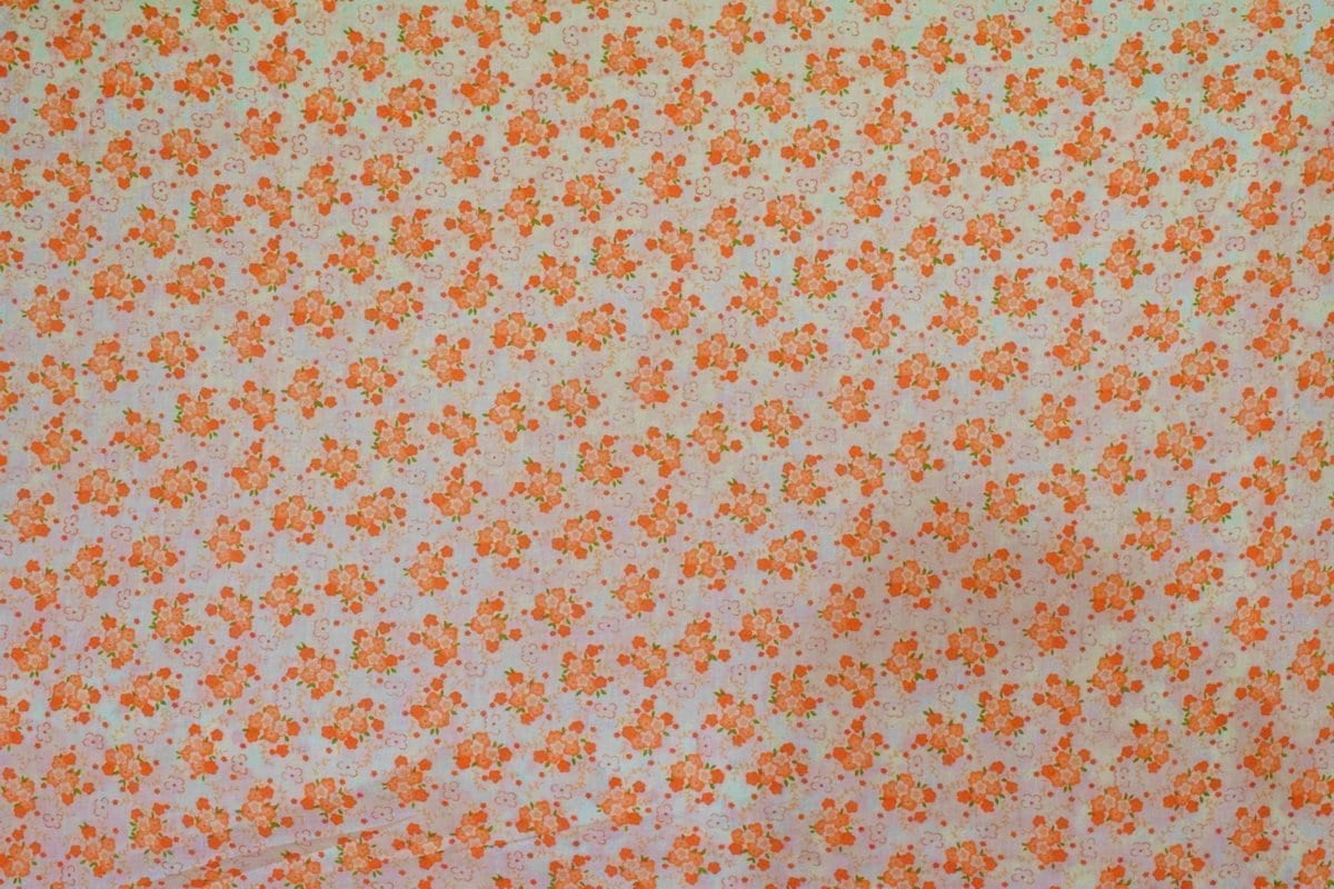 Small Orange Flowers COTTON PRINTED FABRIC for Multipurpose use PC346 2