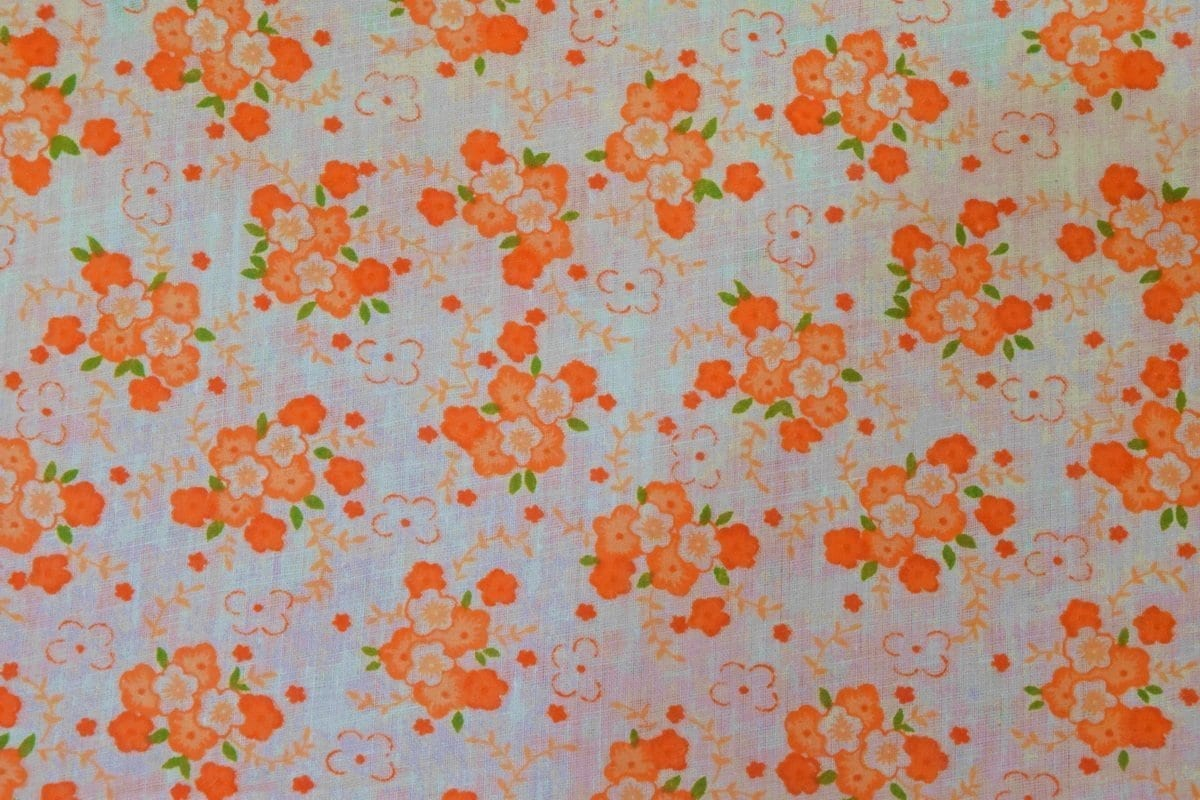 Small Orange Flowers COTTON PRINTED FABRIC for Multipurpose use PC346 1