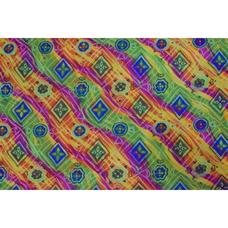 Multicolour leheria COTTON PRINTED FABRIC for Multipurpose use (per meter price) PC350