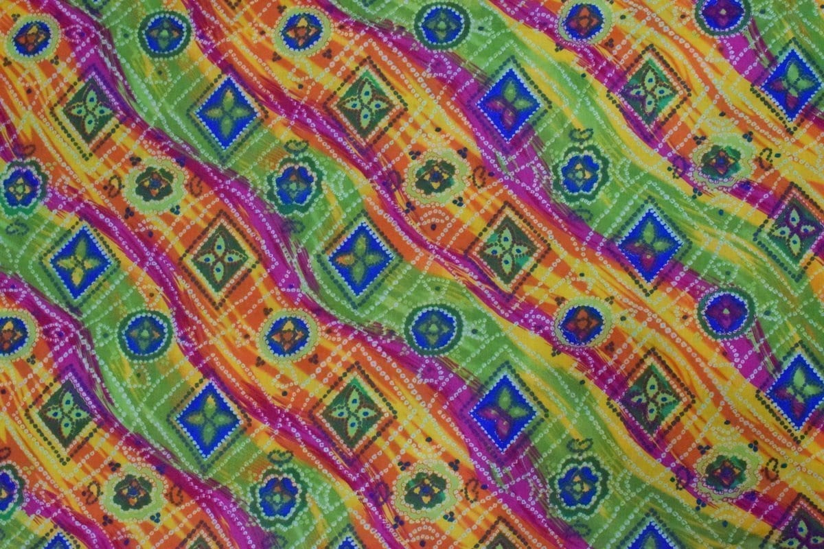 Multicolour leheria COTTON PRINTED FABRIC for Multipurpose use PC350 1
