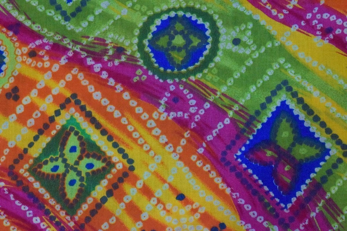 Multicolour leheria COTTON PRINTED FABRIC for Multipurpose use PC350 2