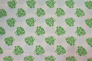 White Green COTTON PRINTED FABRIC for Multipurpose use PC357