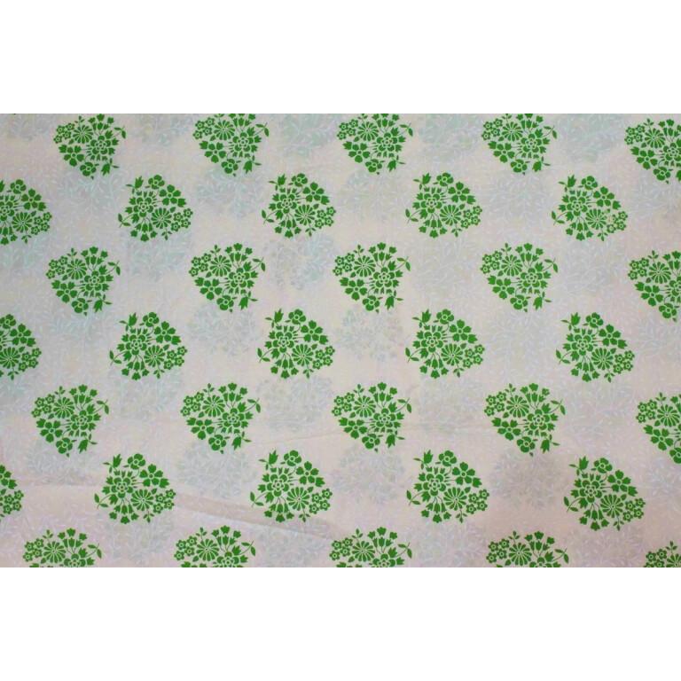 White Green COTTON PRINTED FABRIC for Multipurpose use (per meter price) PC357