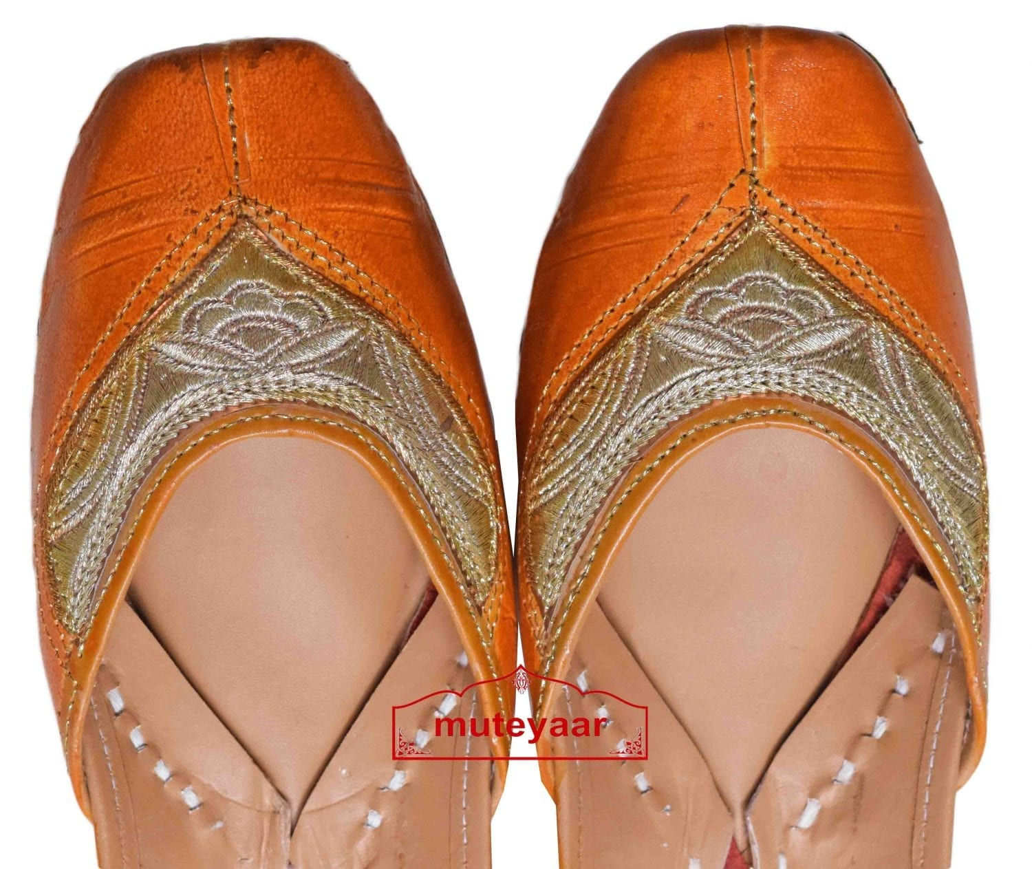Tan Brown Embroidered Hand Made Embroidered Leather Punjabi Jutti PJ9803 2