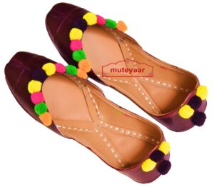 Dark Brown Multicolor Laddoo Punjabi Jutti hand made PJ9806