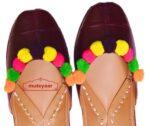 Dark Brown Multicolor Laddoo Punjabi Jutti hand made PJ9806
