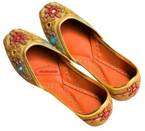 Zircons Mirrors Dabka Embroidered Leather Punjabi Jutti for women PJ9807