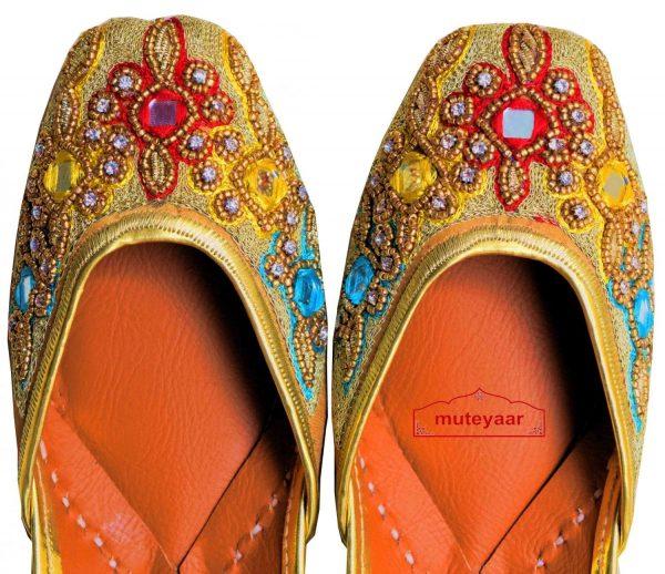Zircons Mirrors Dabka Embroidered Leather Punjabi Jutti for women PJ9807