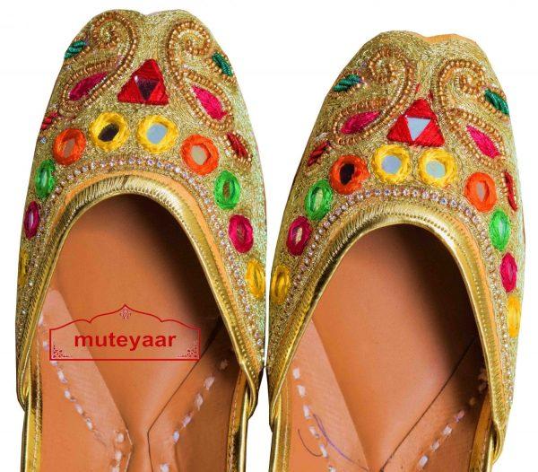 Zari  Mirrors Dabka Work Embroidered Leather Punjabi Jutti for women PJ9808