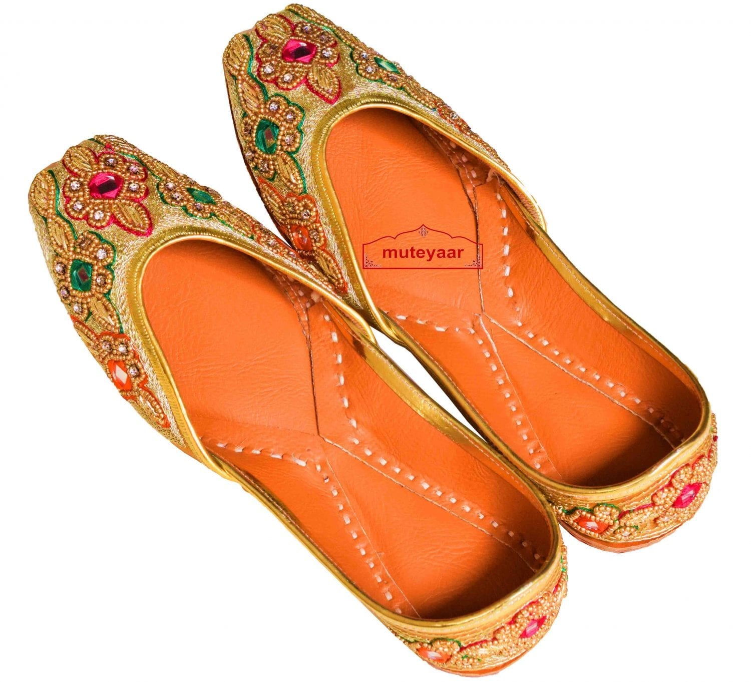 Mirrors Zircons Dabka Work Embroidered Leather Punjabi Jutti for women PJ9810 1