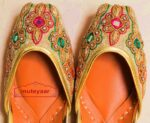Mirrors Zircons Dabka Work Embroidered Leather Punjabi Jutti for women PJ9810