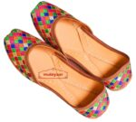 Multicolour Thread Embroidered Leather Punjabi Jutti for women PJ9811
