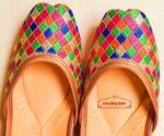 Multicolour Thread Embroidered Leather Punjabi Jutti for women PJ9811