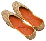 Bridal Punjabi Jutti Heavy Kundan Dabka Embroidery Leather Mojari PJ9812