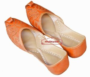 Hand Made Golden Brown Leather Punjabi Jutti for women PJ9815