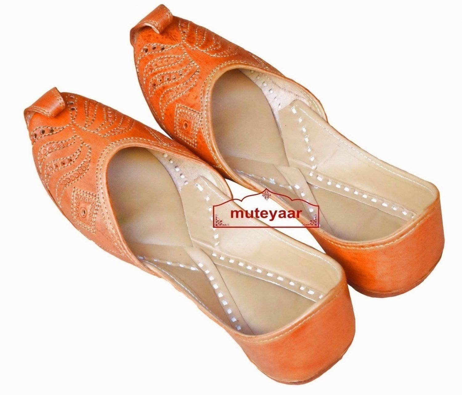 Hand Made Golden Brown Leather Punjabi Jutti for women PJ9815 1