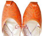 Hand Made Golden Brown Leather Punjabi Jutti for women PJ9815