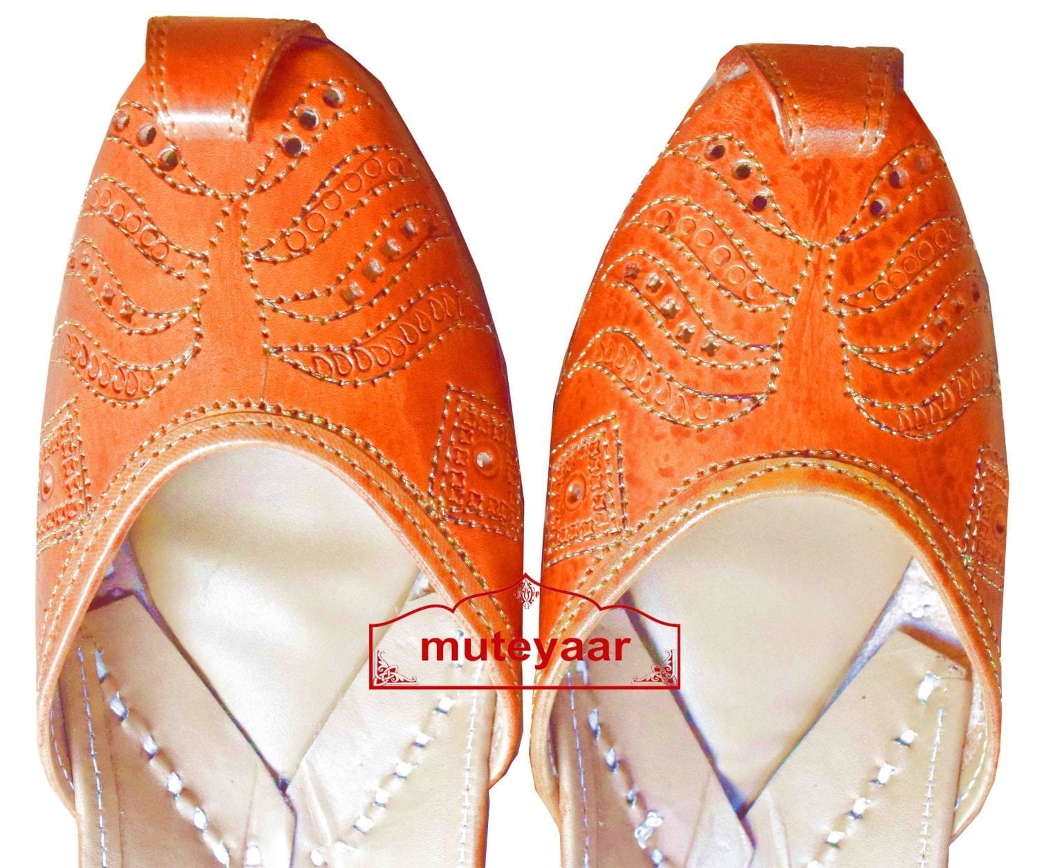 Hand Made Golden Brown Leather Punjabi Jutti for women PJ9815 2