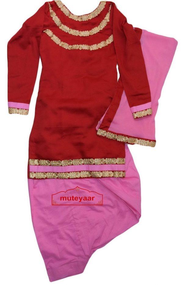 Patiala Salwar Suit Replica Gota Design with Chiffon Dupatta Custom Made RS030