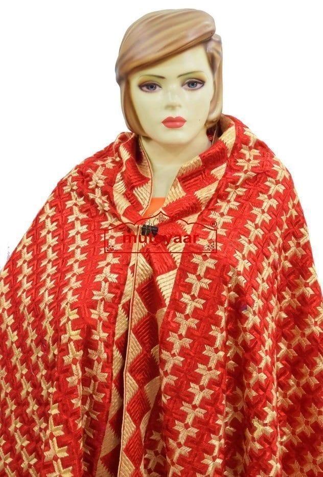 PHULKARI Bagh Dupatta M/C Embroidered Party wear Cotton chunni D0932 2