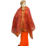 Peach Kantha Work Hand Embroidered Partywear Chanderi Cotton Silk Dupatta D0936