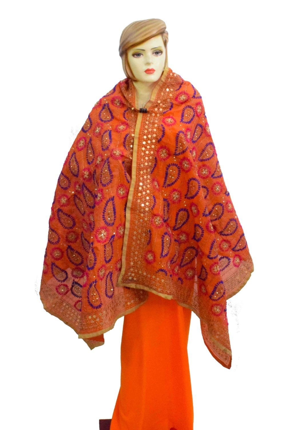 Peach Kantha Work Hand Embroidered Partywear Chanderi Cotton Silk Dupatta D0936 1