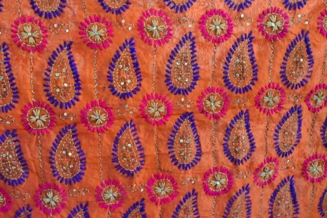 Peach Kantha Work Hand Embroidered Partywear Chanderi Cotton Silk Dupatta D0936 2