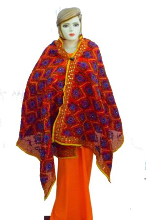 Red Kantha Work Hand Embroidered Partywear Chanderi Cotton Silk Dupatta D0937