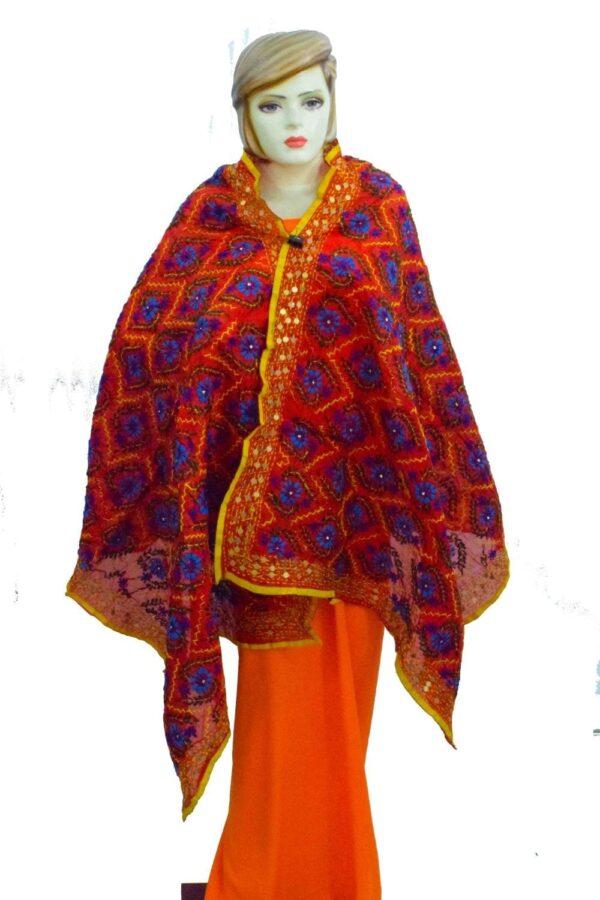 Red Kantha Work Hand Embroidered Partywear Chanderi Cotton Silk Dupatta D0937