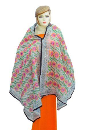 White Kantha Work Hand Embroidered Partywear Chanderi Cotton Silk Dupatta D0942