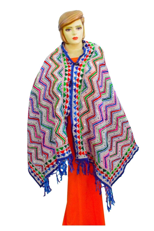 White Kantha Work Hand Embroidered Partywear Chanderi Cotton Silk Dupatta D0943 1