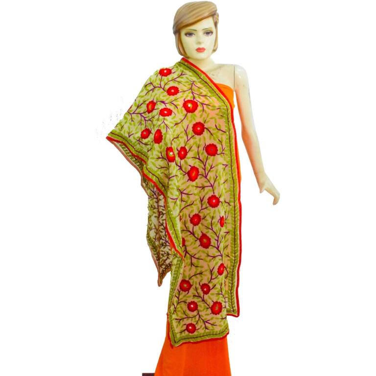 Kantha Work Hand Embroidered Partywear Georgette Stole D0945
