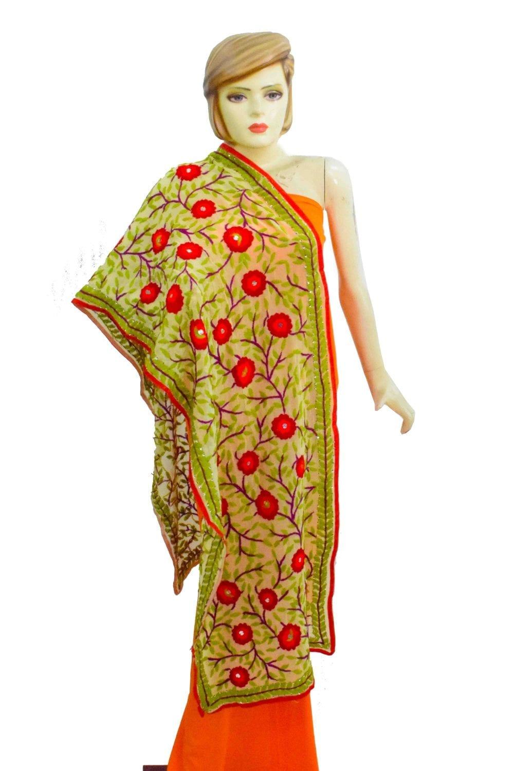 Kantha Work Hand Embroidered Partywear Georgette Stole D0945 1