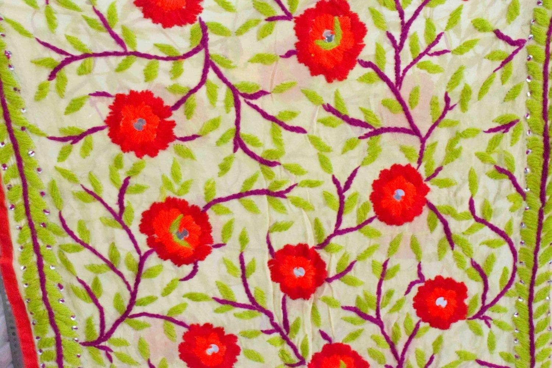 Kantha Work Hand Embroidered Partywear Georgette Stole D0945 2